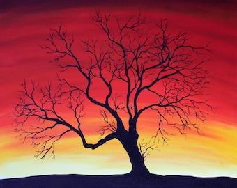 Black tree against sunset - Original Oil Painting