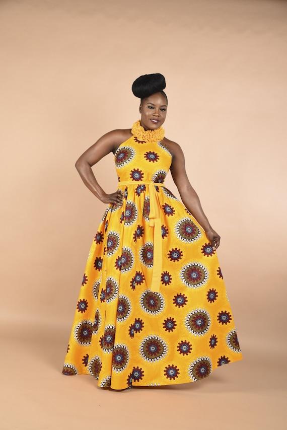 Pamyellow-Ruffle Maxi Dress.