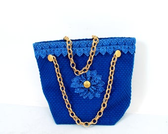 Knit Bag / Gold Chain Bag / Blue Bag / Granny Bag / Small Bag / Fancy Bag /