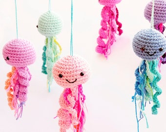 Colorful Jellyfish Baby Mobile, Pink Crib Baby Mobile, Animals Hanging Baby Mobile, Nautical Baby Mobile, Ocean baby room