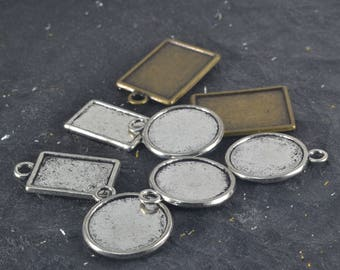 8 Assorted 2 Sided Blanks Bezels Round Rectangle Tibetan Silver DESTASH