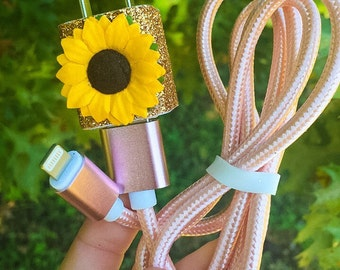 Rose Gold Sunflower iPhone 5/6/7 Charger