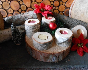 Birch 5 Piece Tree Branch Candle Holders