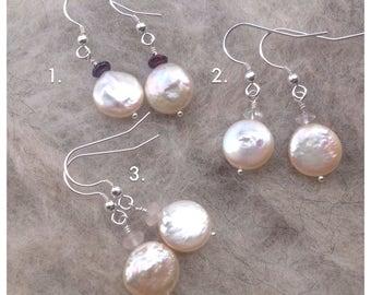 Cream, Champagne Coin Pearl, Gemstone, Drop Earrings, Rose Quartz, Garnet, Crystal Quartz, June Birthstone, Bride, Bridesmaid, Gift for Her