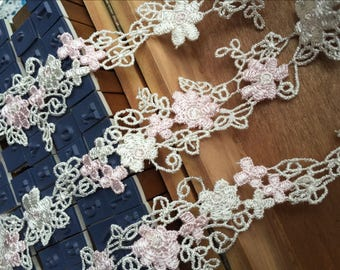 Lovely Floral Venice Lace Pink Flowers Lace Trim 1.18 Inches Wide 2 Yards Costume Headware Supplies