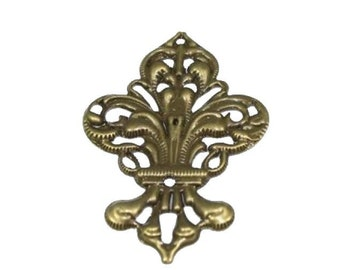 ABE030 - Filigree Steampunk Fleur de Lis Embellishment in Antique Bronze/Brass Finish