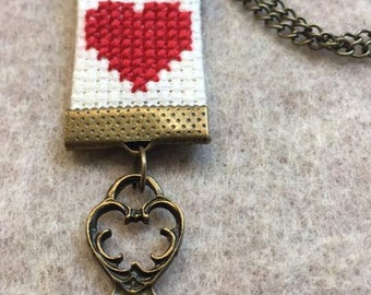 Heart Necklace - cross stitch heart with key charm
