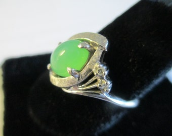 Vintage Jade and Diamond Ring/White Gold/Size 7/FREE Shipping in USA