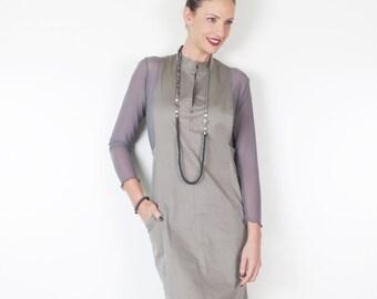 Pinafore Dress, Womens Pinafore, High Fashion Dress, Jumper Dress,  Olive Green Dress, Fashion Dress, Feminine Clothing, Womens Clothes
