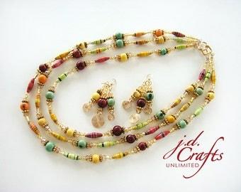 Acai Jewelry, Beaded Necklace, Handmade Necklace, Paper Necklace, Boho Necklace, Tropical Necklace, Bead Necklace, Paper Bead Necklace