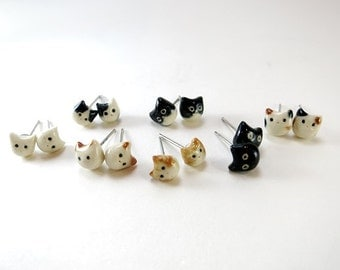 Tiny Cat Earrings Cat Stud Cat Jewelry Gift Cat Lover Black Cat Calico Tuxedo Cat Black White Orange Tabby Cat Earrings Kitty Ceramic Stud