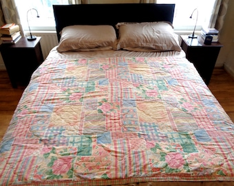 Vintage bedspread/quilt/eiderdown & matching single bed duvet cover 1990s country cottage patchwork effect flower pattern bedding bed  (X)