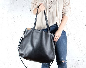 Pacco bag black shoulder bag crossbody bag tote bag zipped up pockets oversized city bag everyday handbag vegan bag faux leather