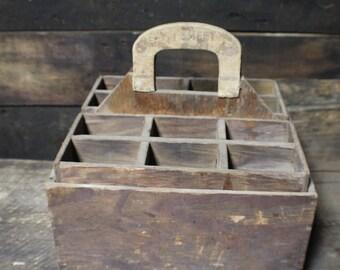 Wood Tool Box, Handled Primitive Nail Box