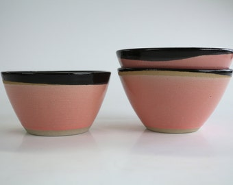 ceramic bowl in black round, gray and pink collar, handmade