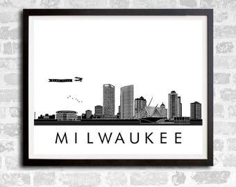 Milwaukee Skyline Print, Brew City Skyline print