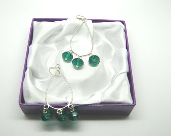 Green Faceted Crystal Chandelier Style Earrings