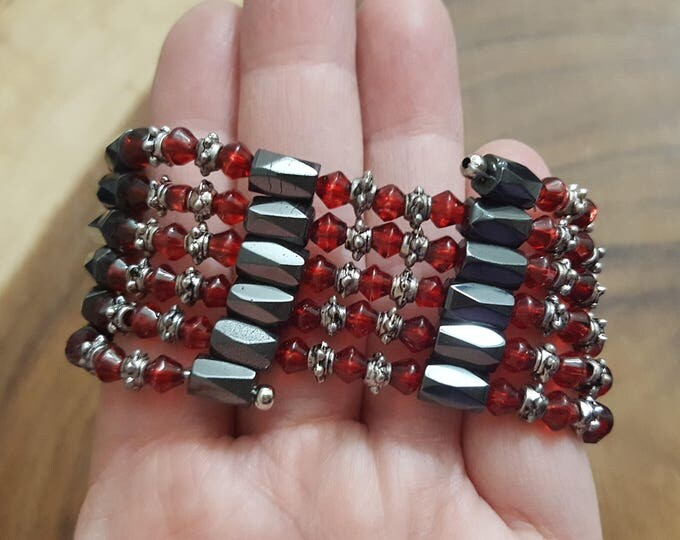 36 inch magnetic hematite wrap (bracelet, anklet, necklace) with ruby red glass beads ~ 1 Reiki infused wrap (MHW07)