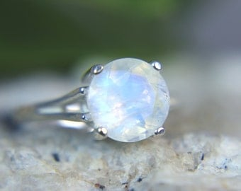 MOONSTONE - Genuine Faceted Rainbow Moonstone Sterling Silver Solitaire Ring! Free USA Shipping!