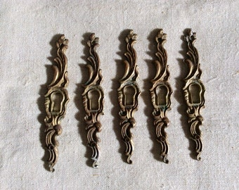 Vintage Antique 1900s French Escutcheon Key Hole Keyhole Covers Brass 5 (five) pieces