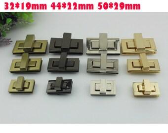 10 sets 4 size 4 color  bag square   twist turn  lock, clutch bag lock, bag closure, turn lock, gold/gun-metal/brass/silver  hardware ks-522