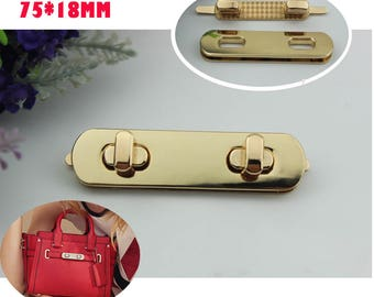 10-100 sets 75*15mm gold rectangle  twist turn lock with screw ,purse  handbag decorative bar  lock  hardware ks-537