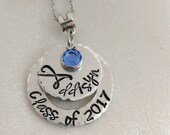 Class of 2017 Necklace - Personalized - Hand Stamped - Graduation Jewelry - Layered Graduation Necklace - Graduation Year Necklace - Name