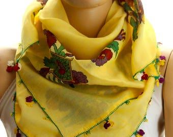 needle lace shawl - Yemeni Scarf - Turkish Oya Scarf - Needle Crochet Yemeni - Handmade Shawl