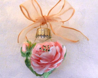 Coral Rose Heart Ornament ~ Handpainted Rose ~ August Birthday ~ Coral Rose ~ Cottage Chic