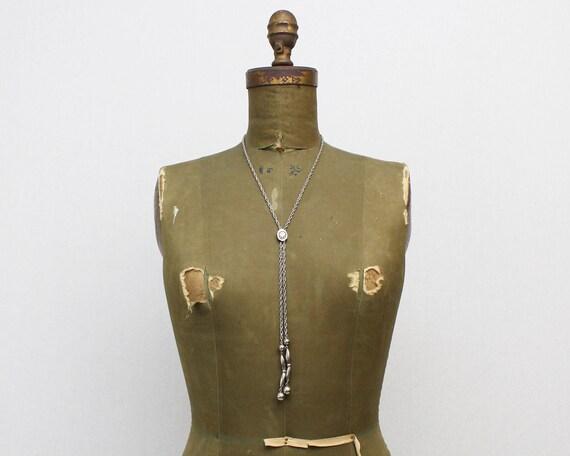 Silver Lariat Necklace - 31 Inch Opera Length Necklace - Vintage 1970s Slider Necklace