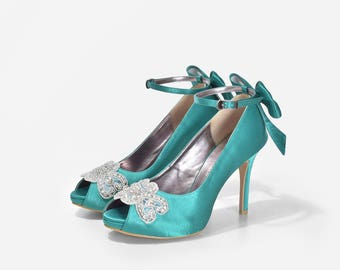 Megane Custom Made Wedding Shoes, Green Wedding Shoes, Green Satin Heels, Green Bridal Shoe, Bespoke Dinner Heels, Custom Made Shoes