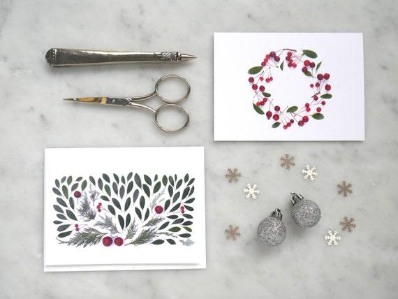 Holiday cards ~ Botanical art ~ set of five assorted cards
