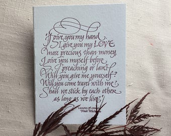 Whitman Quote in Letterpress Calligraphy