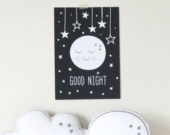 Good night print. Monochrome nursery print. Kids decor. Nursery decor
