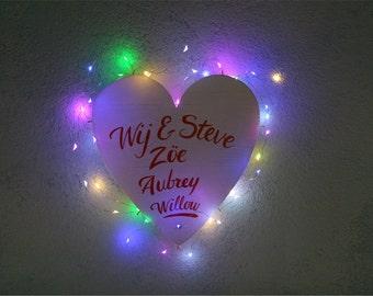 Custom painted luminous heart wall decoration