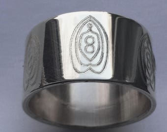 Femme Fantastique Ring Engraved 12mm Wide Sterling Silver
