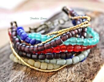 ALMA bracelet boho 10-row multi colored glass beads