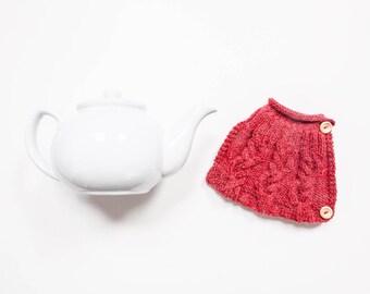 Red hand knit tea cosy - Teapot cosy - Wool tea cosy - Teapot cover & warmer - Vintage tea cosy - Retro tea cosy - Tea lover's gift