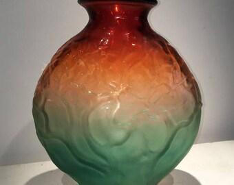Sale Hand Blown Glass Art Sunset Branch Vase