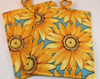 Pot Holder Set Yellow And Teal Sunflower Daisy Pot Holder Set Rectangle Trivet