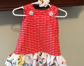 Sam I Am Dress with Character Ruffle White (baby, girls, toddler, infant, child) Jumper or Sundress