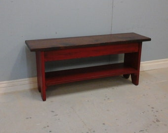 Country Bench With Shelf / Entryway  Bench / Wooden Red Bench / cottage Storage Bench / Primitive  Bench / Farmhouse Bench / Rustic  Bench