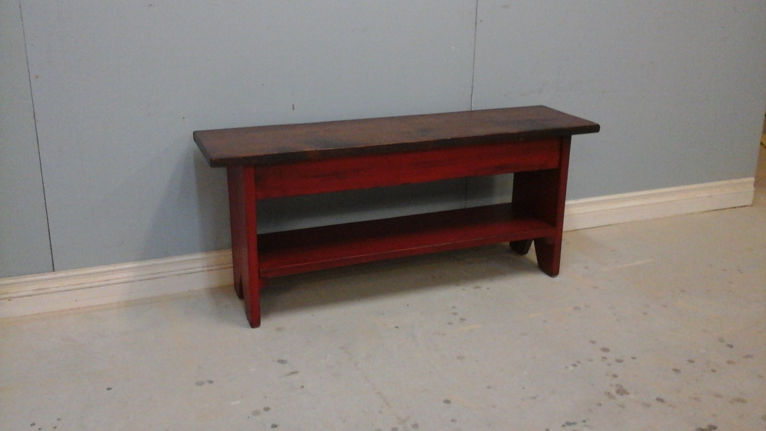 Red Foyer Bench : Country bench with shelf entryway wooden red