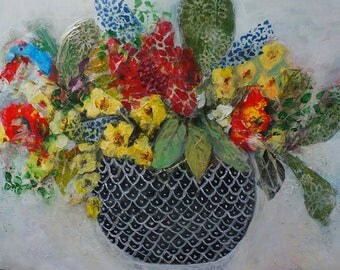 Freshly picked flowers mixed media painting