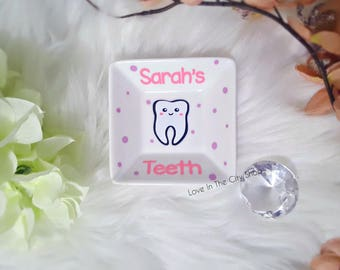 Tooth Fairy Dish, Tooth Fairy Gift, Custom Tooth Fairy, Tooth Holder, Custom Tooth Box, Tooth Storage, Lost Tooth, Tooth Fairy Tray, Tooth