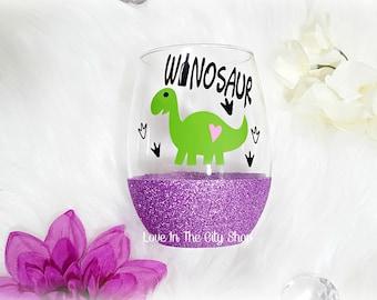 Dinosaur Wine Glass, Funny Wine Glass, T Rex Wine Glass, Wine Lover Gift, Stemless Wine Glass, Glitter Wine Glass, Dinosaur Gift