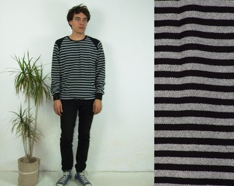 90's vintage men's black gray striped sweatshirt with pocket
