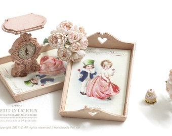 Dollhouse Miniature Accessories - Shabby Vintage Pink Wooden Tray - A Greeting to my Valentine