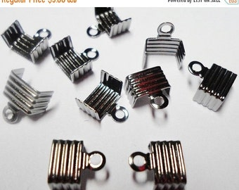 100 Fold Over Crimp Cord ends, 5mm 6mm Flat Clasp, Gunmetal,