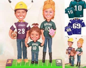 Vikings and Eagles Theme Family Wedding Cake Toppers  (Free shipping)